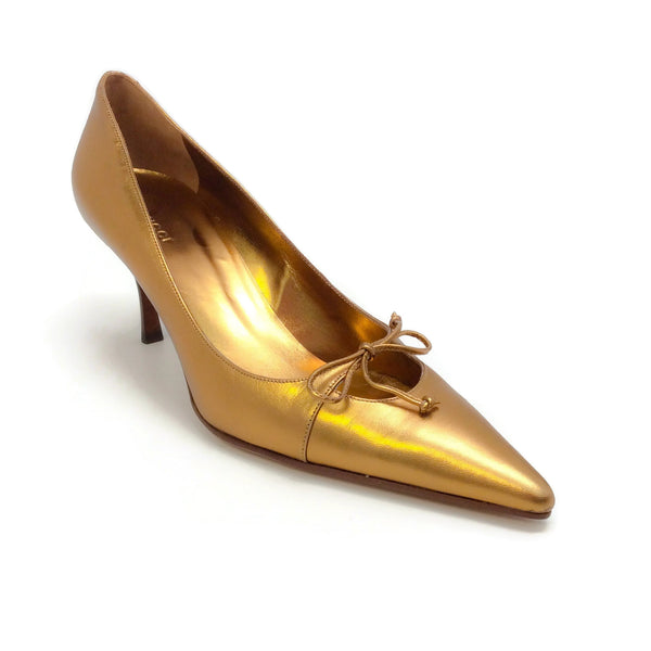 Gucci Gold Metallic Point Toe Tie Front Pumps