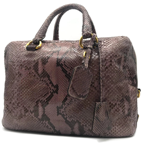 Prada Top Handle Mauve Snakeskin Satchel