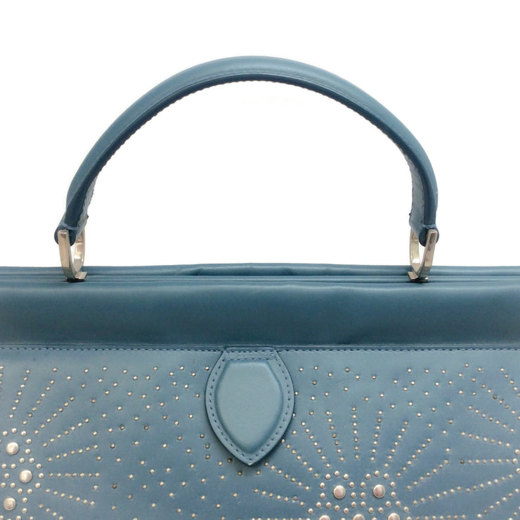 ALAÏA Studded Light Blue Leather Satchel