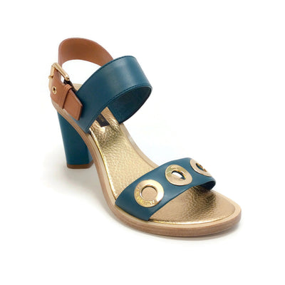 Louis Vuitton Teal / Tan / Gold Grommet Embellished Sandals