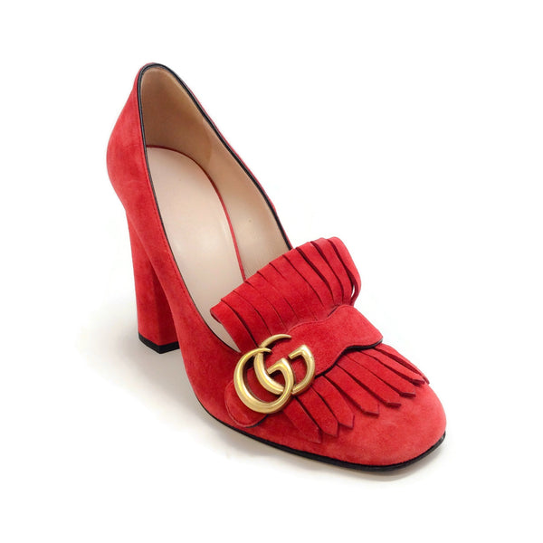 Gucci Red Marmont Fringe Pumps