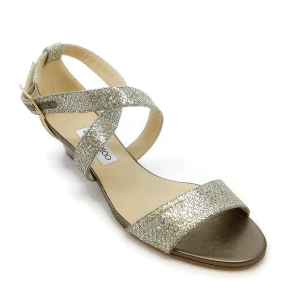 Jimmy Choo Silver Glitter Sandals
