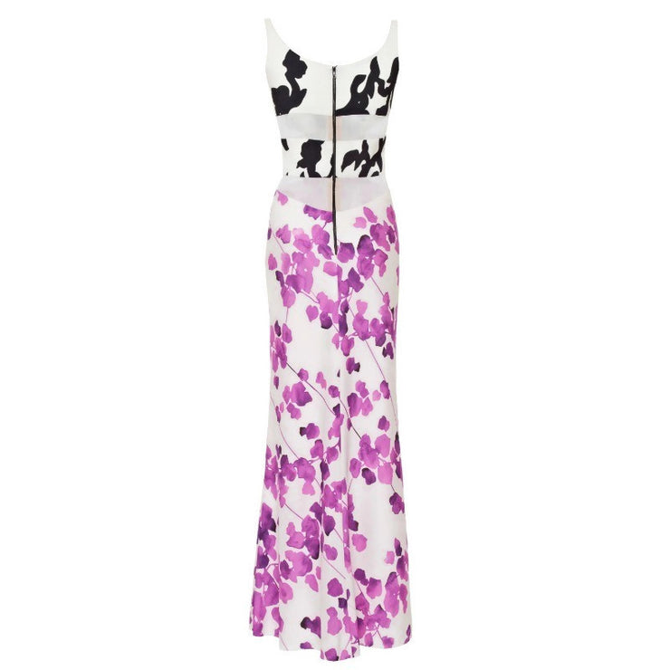 Narciso Rodriguez Ivory / Purple Floral Silk Night Out Dress