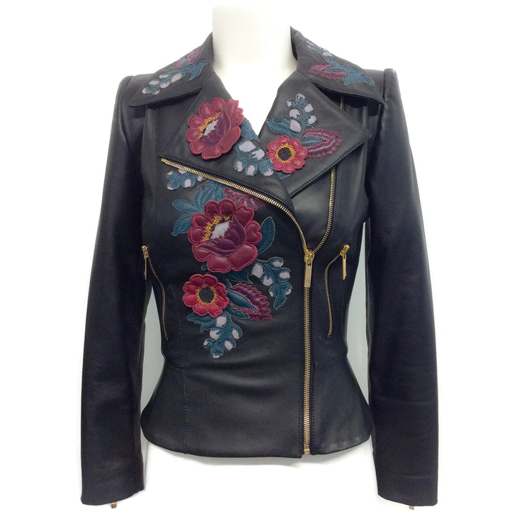 Zuhair Murad Black Floral Appliqué Leather Moto Jacket