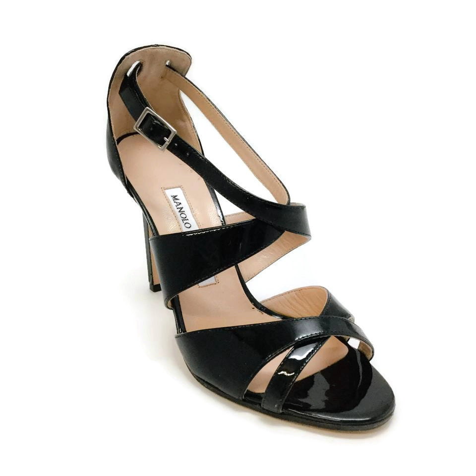 Manolo Blahnik Black Patent Leather Criss Cross Formal Shoes