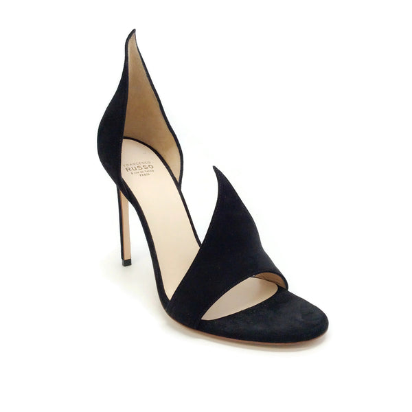 Francesco Russo Black Suede Flame Peep Toe Pumps