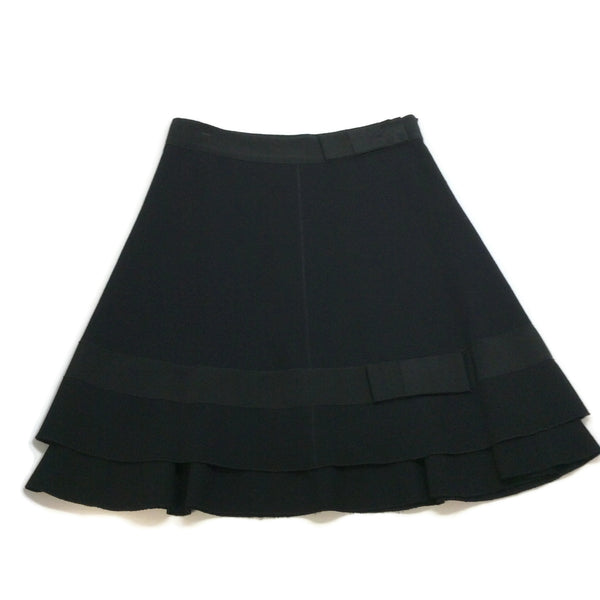 Prada Black Crepe Grosgrain Bow Skirt