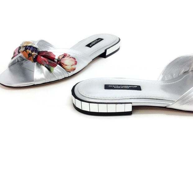 Dolce&Gabbana Silver Metallic Knotted Slide Sandals