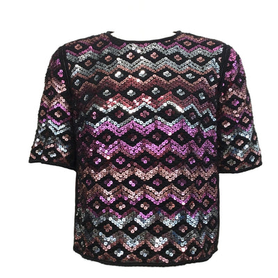 Dries van Noten Sequin Cropped Pink / Black Top