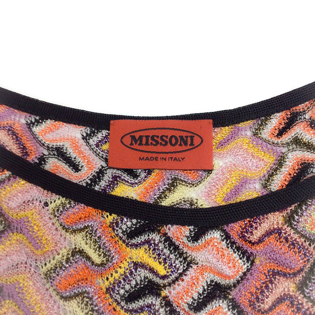 Missoni Sleeveless Zig Zag Tie Waist Orange / Pink Multi Sweater