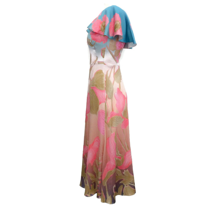 Peter Pilotto Pink Multi Floral Print Hammered Silk Cape Sleeve Dress