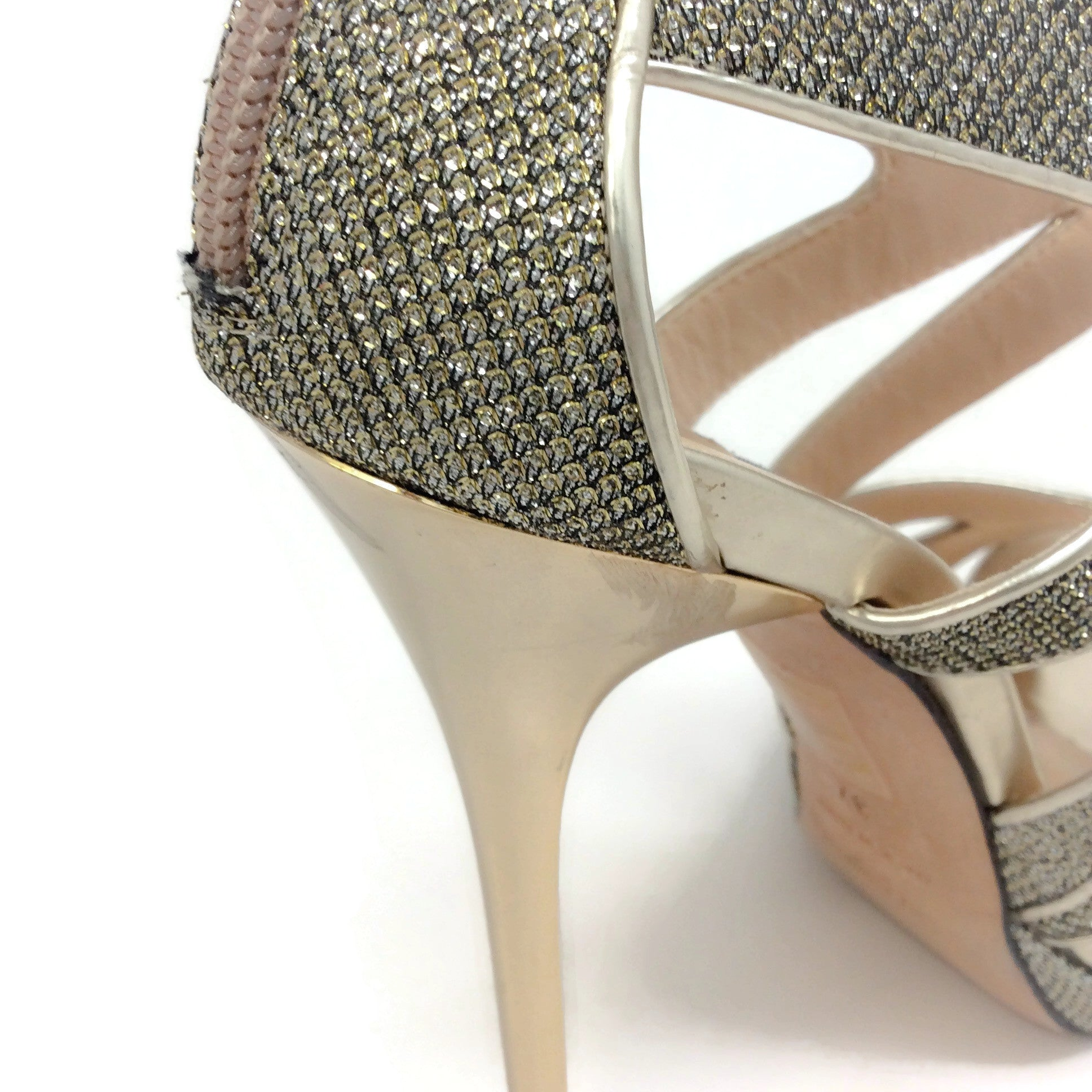 Jimmy Choo Gold Collar Platform Cage Pumps