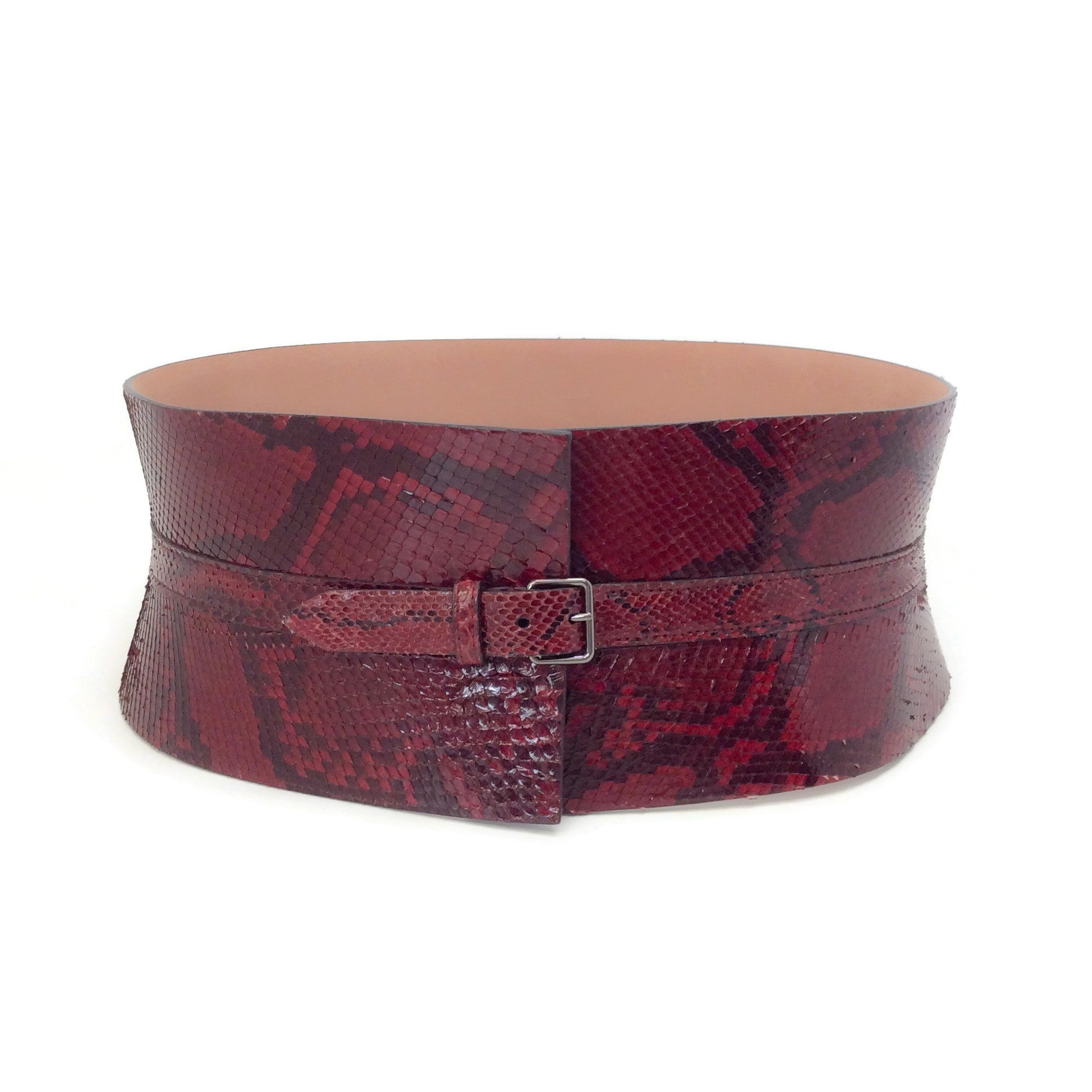 ALAÏA Red Wide Snake Waist Belt