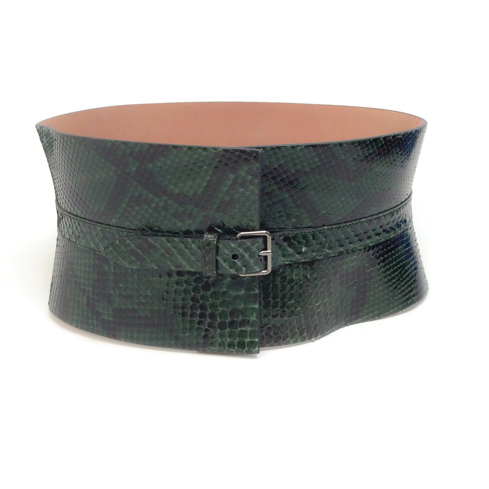 ALAÏA Green Wide Snake Waist Belt