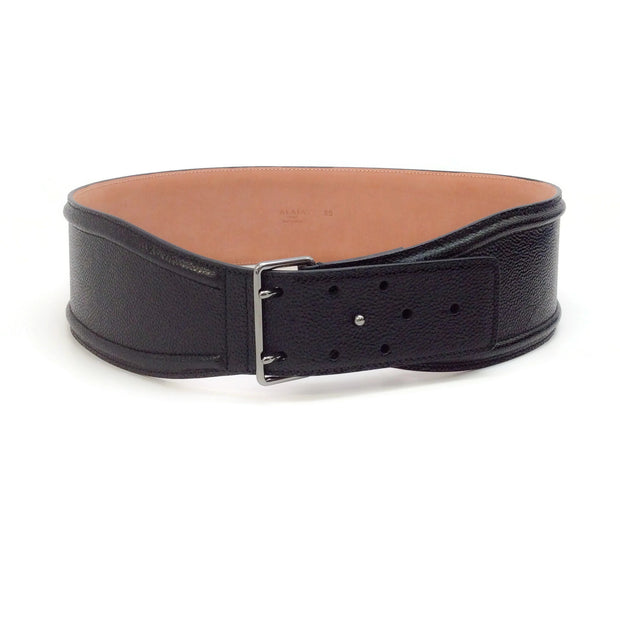ALAÏA Black Pebbled Leather Waist Belt