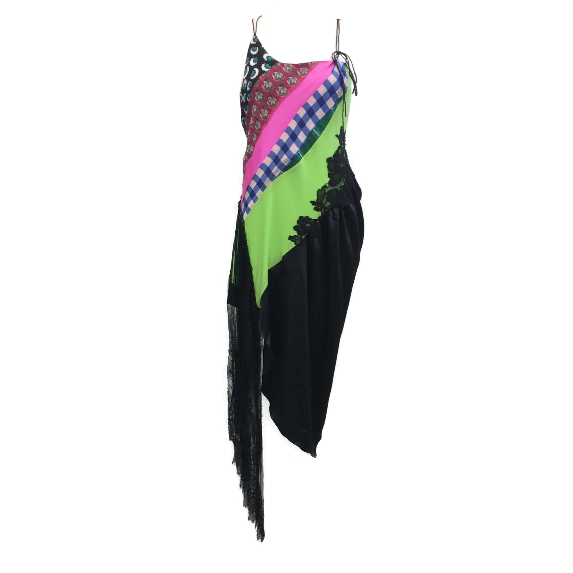 Angel Chen Multicolor Patchwork Fringe Slip Dress