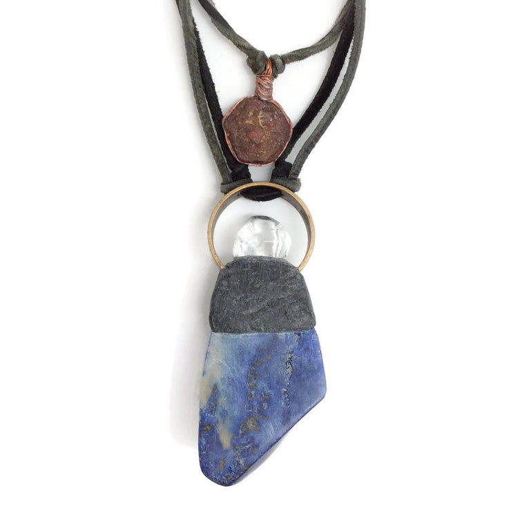 Blue Crystal Geode Necklace