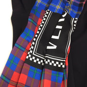 Versace Black Plaid Scarf Draped Dress