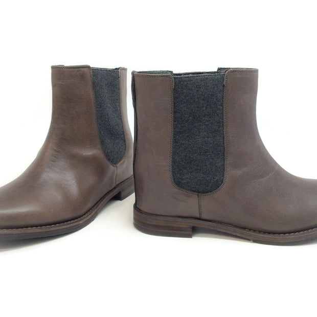 Brunello Cucinelli Taupe Leather and Cashmere Boots