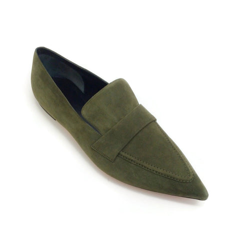 Céline Olive Green Pointed Toe Loafers