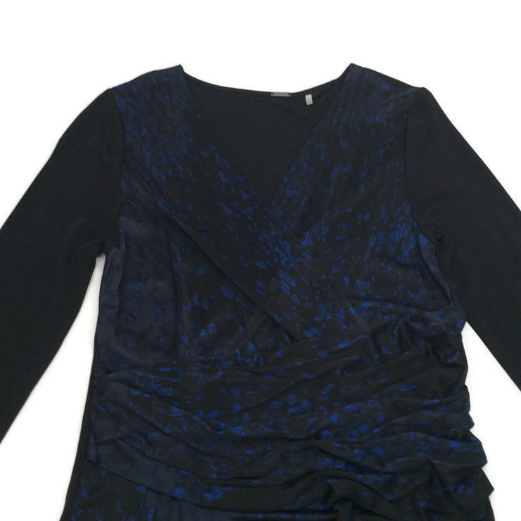 Elie Tahari Black / Navy Wrap Front Dress
