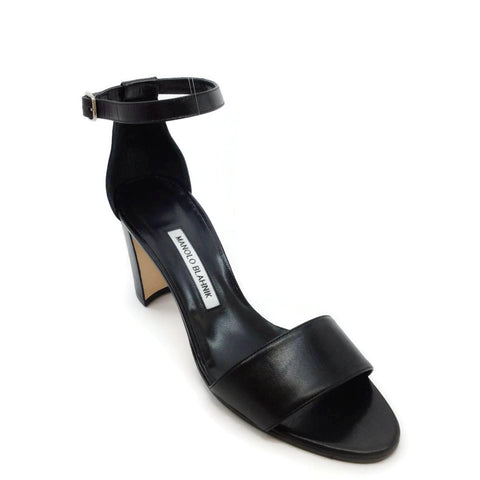 Manolo Blahnik Black Leather Sandals