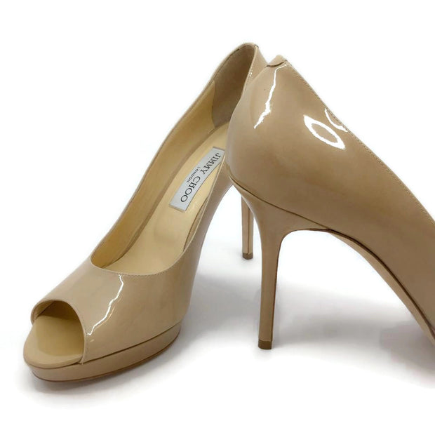 Jimmy Choo Nude Peep Toe Pumps