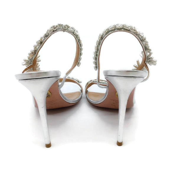 Aquazzura Silver Crystal Strap Sandals
