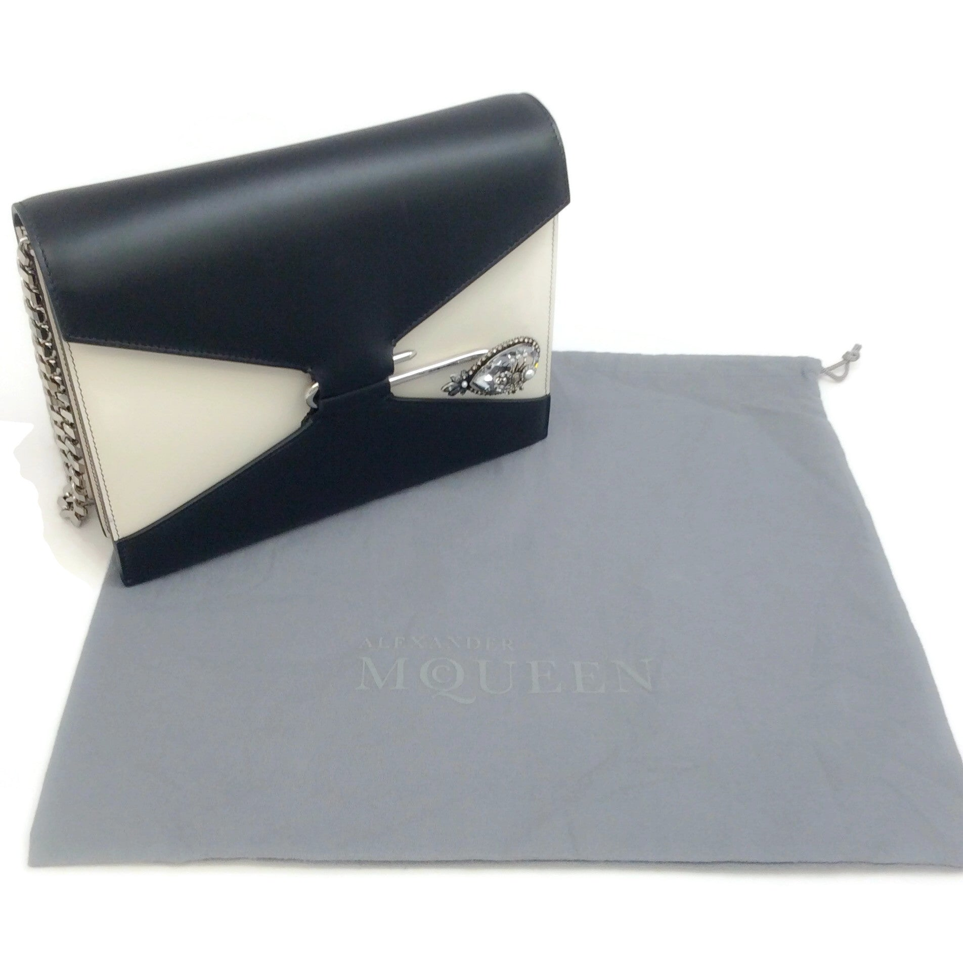 Alexander McQueen Spider Slide Clasp Black / Ivory Leather Shoulder Bag