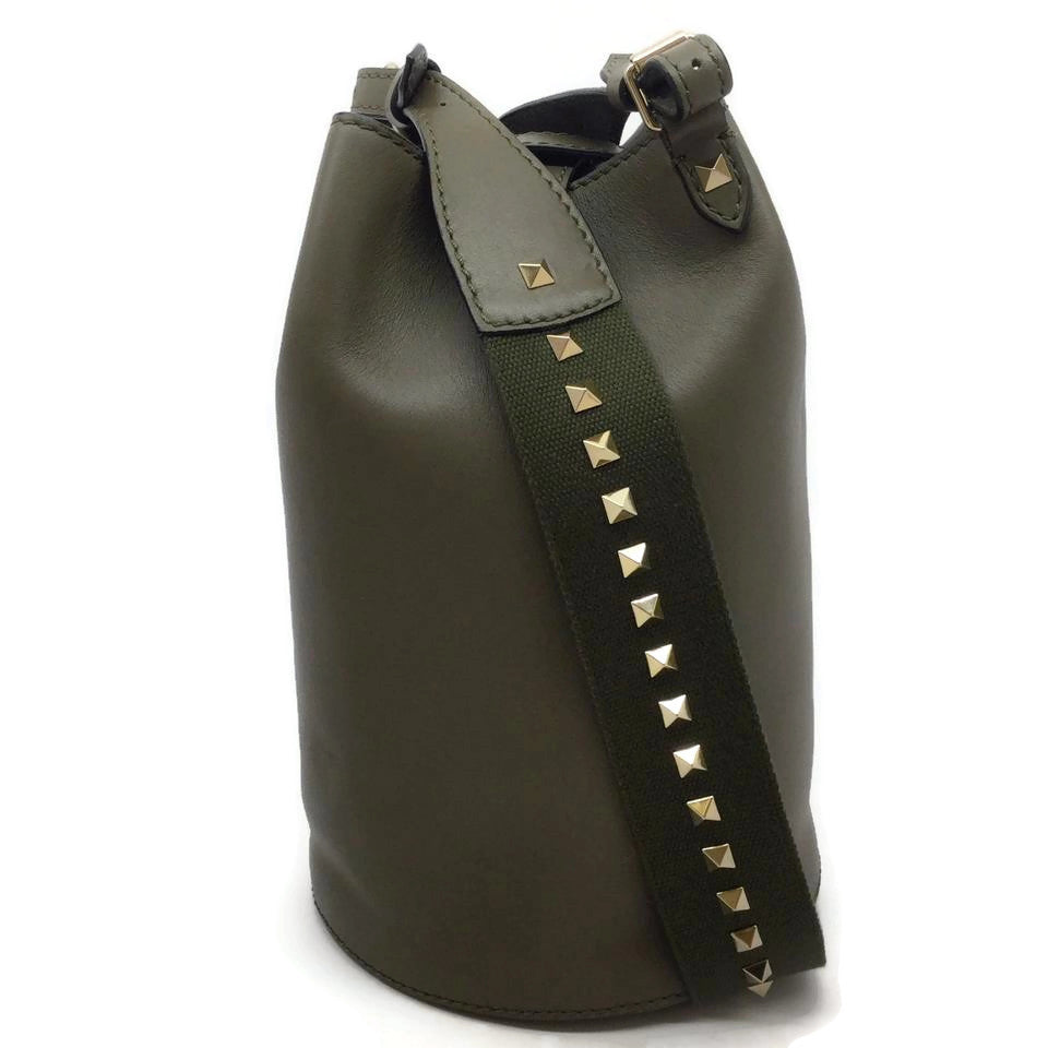 Valentino Olive Rockstud Leather Bucket Bag