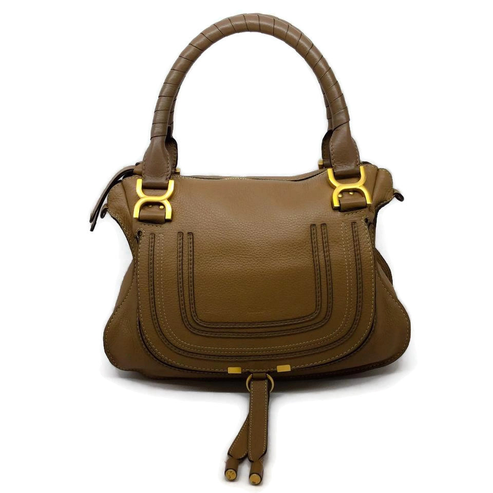 Chloé Marcie Tan Calfskin Leather Satchel