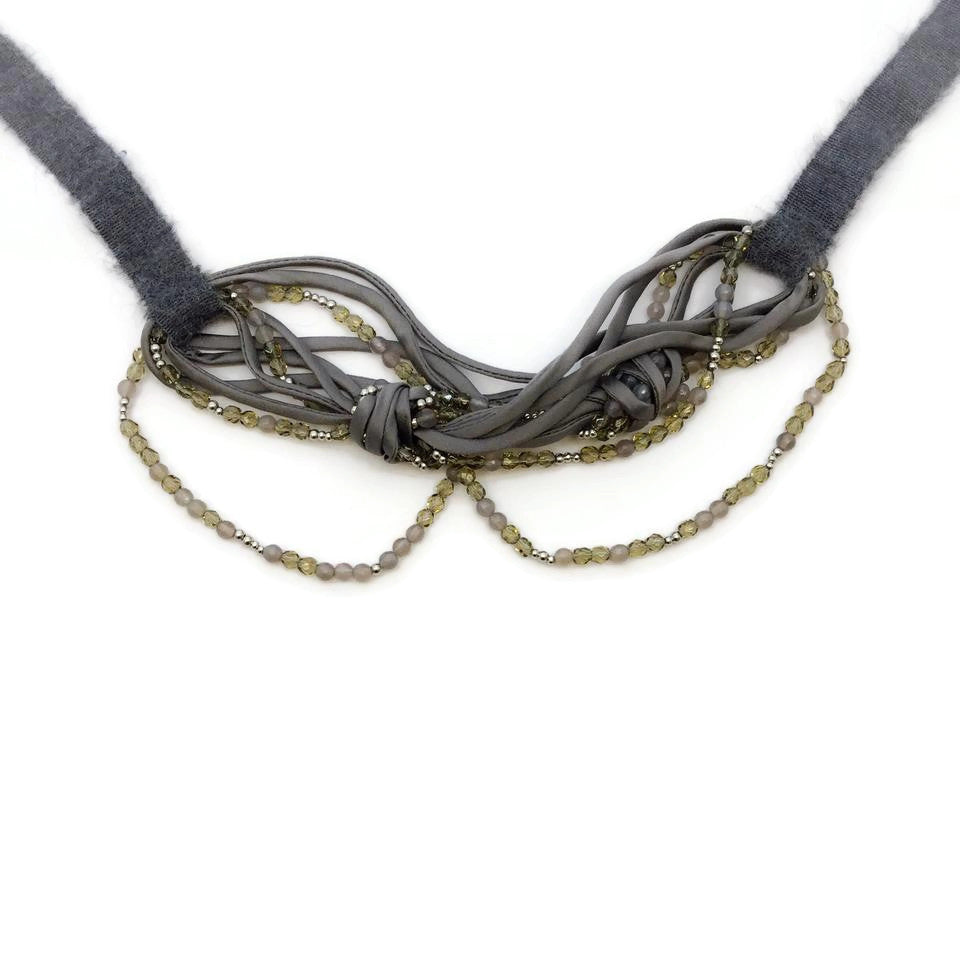 Fabiana Filippi Grey Beaded Ribbon Necklace