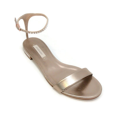 Casadei Bronze Crystal Ankle Strap Sandals
