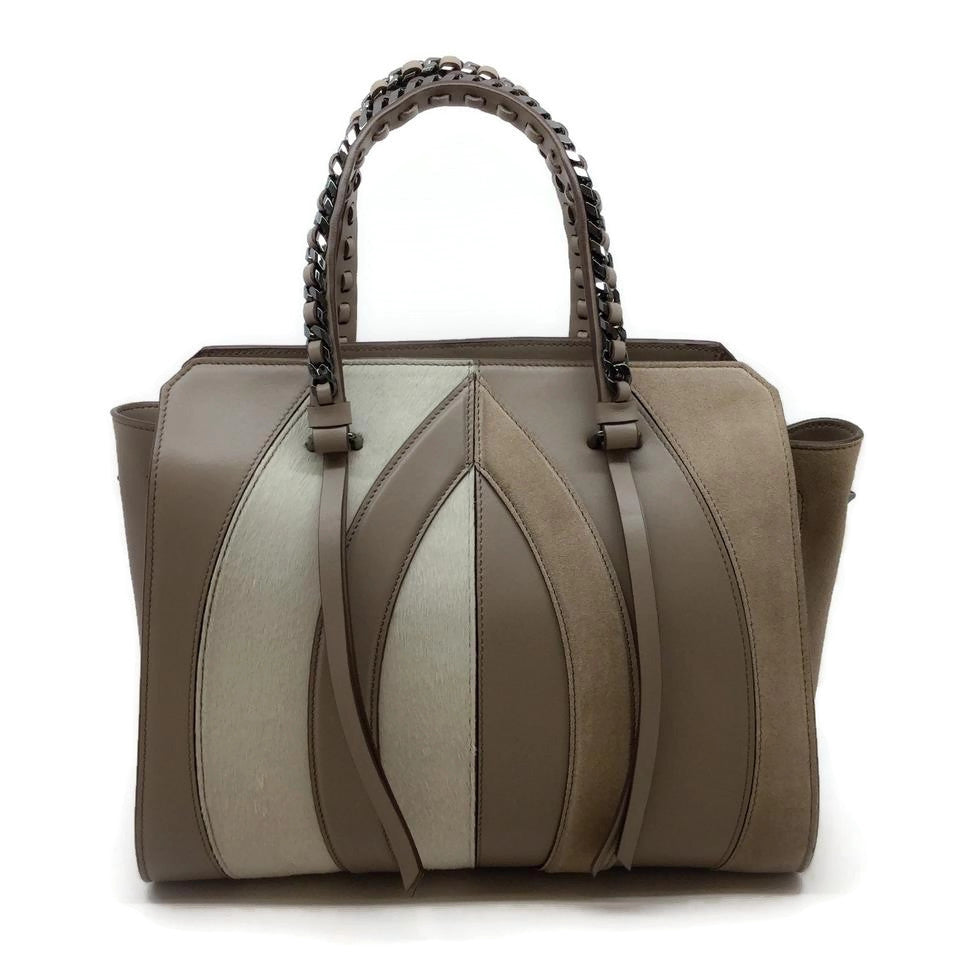 Elena Ghisellini Taupe Suede Leather Arch Tote