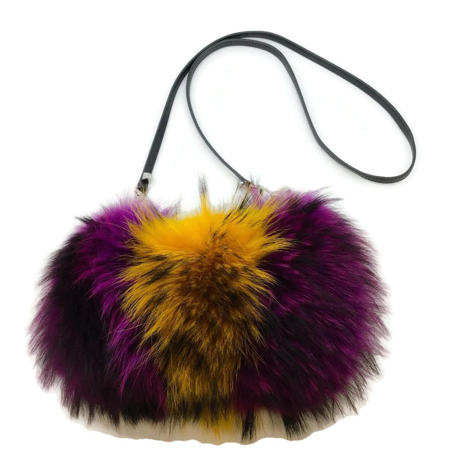 Emm Kuo Black / Yellow / Fuscia Fox Fur Cross Body Bag