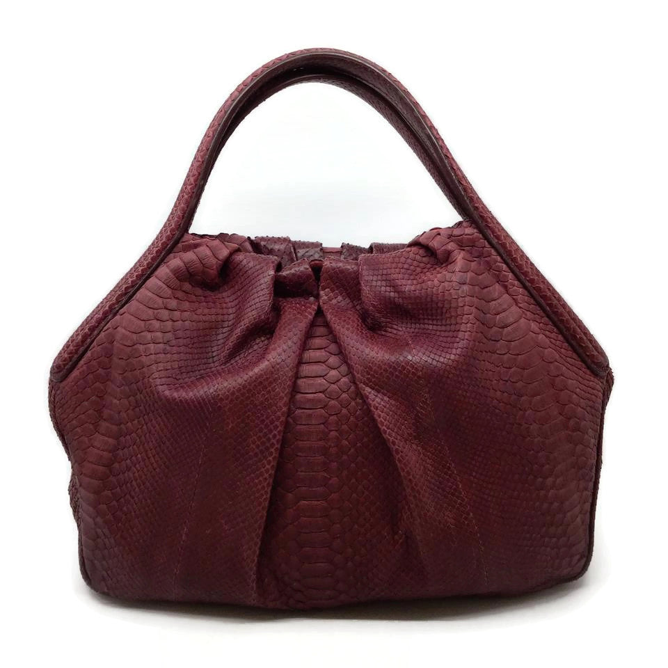 Giorgio Armani Wine Cinch Top Snakeskin Leather Hobo Bag