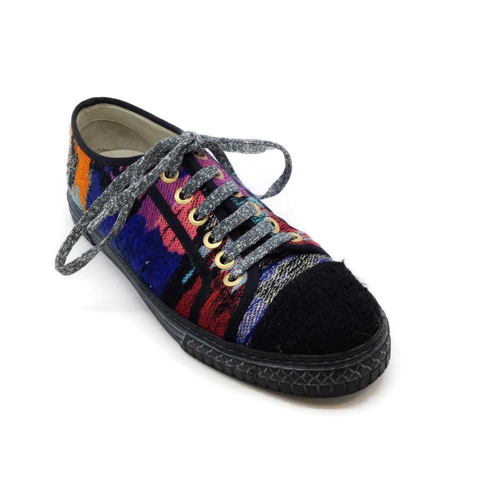 Chanel Black / Multicolored Metallic Knit Sneakers