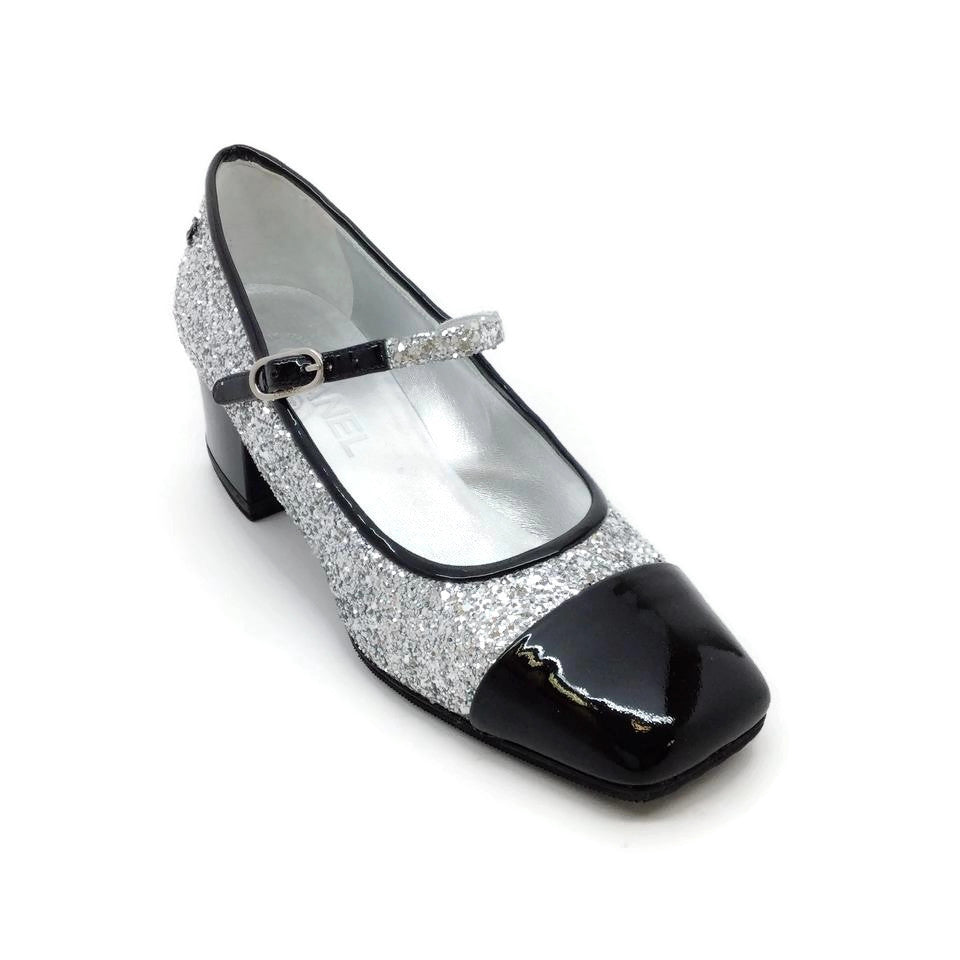 Chanel Silver / Black Glitter Pumps