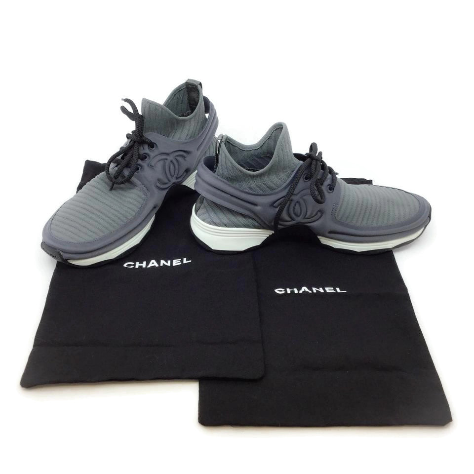 Chanel Dark Grey Neoprene Sneakers