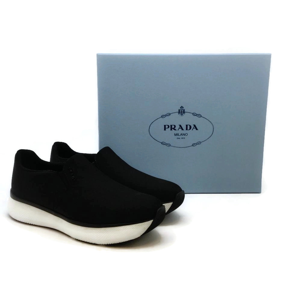 Prada Black / White Micro Logo Sneakers