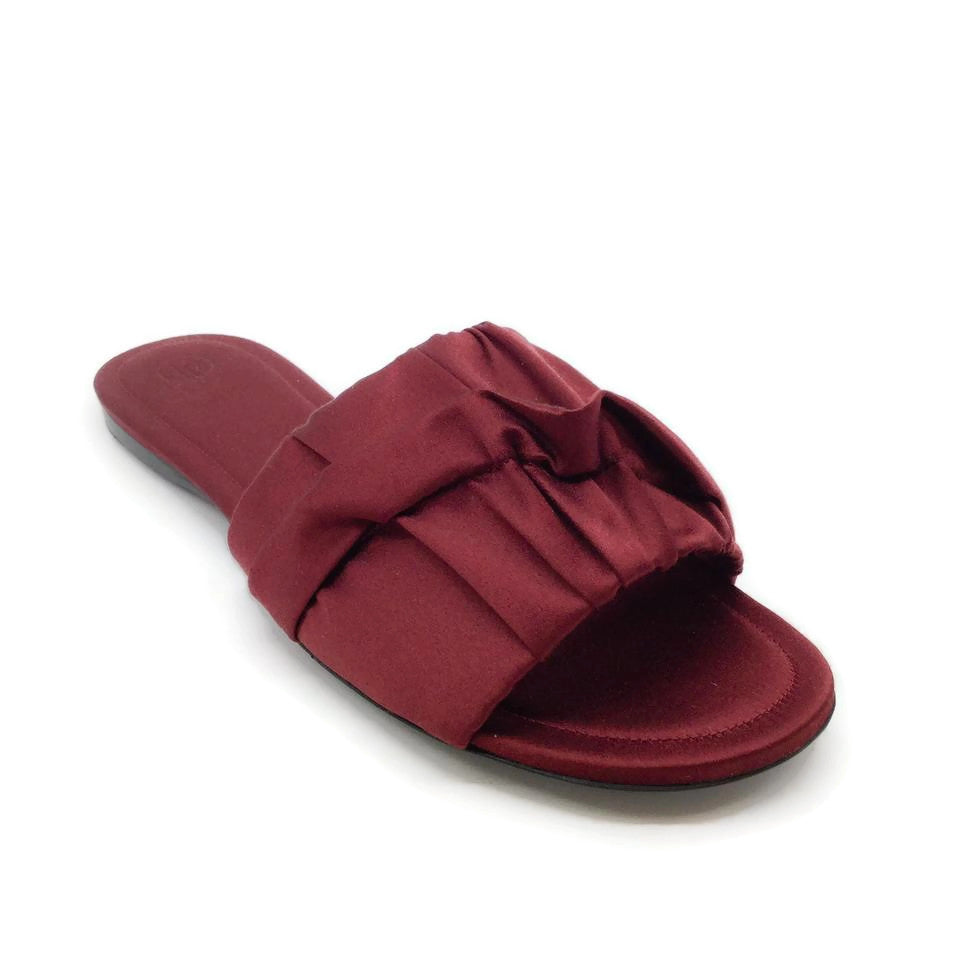 The Row Burgundy Satin Slide Sandals