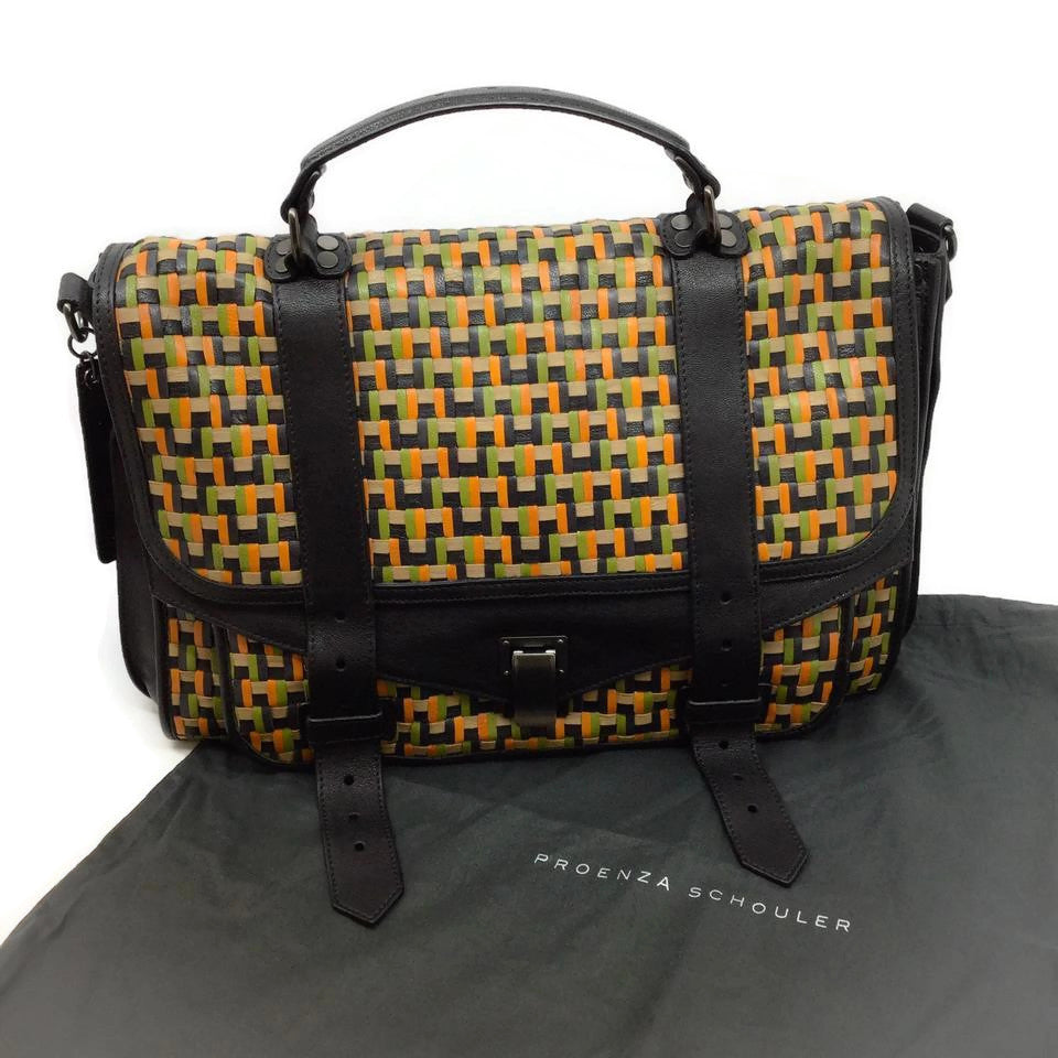 Proenza Schouler Woven Black / Orange / Green Leather Messenger Bag