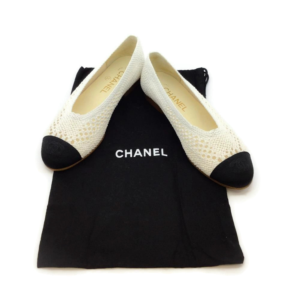 Chanel Black / White Crochet Flats