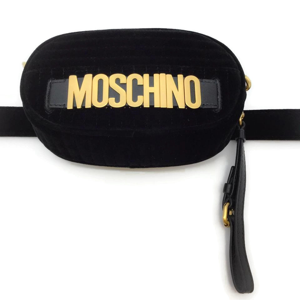 Moschino Black Velvet Logo Belt Bag