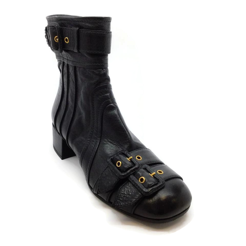 Prada Black Buckle Front Booties