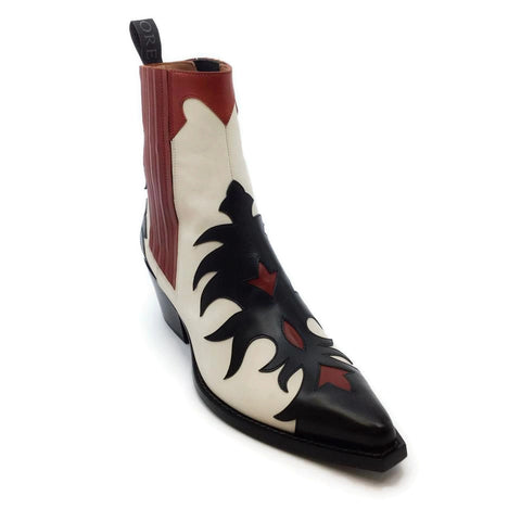 Sartore Black / Red / White Western Booties