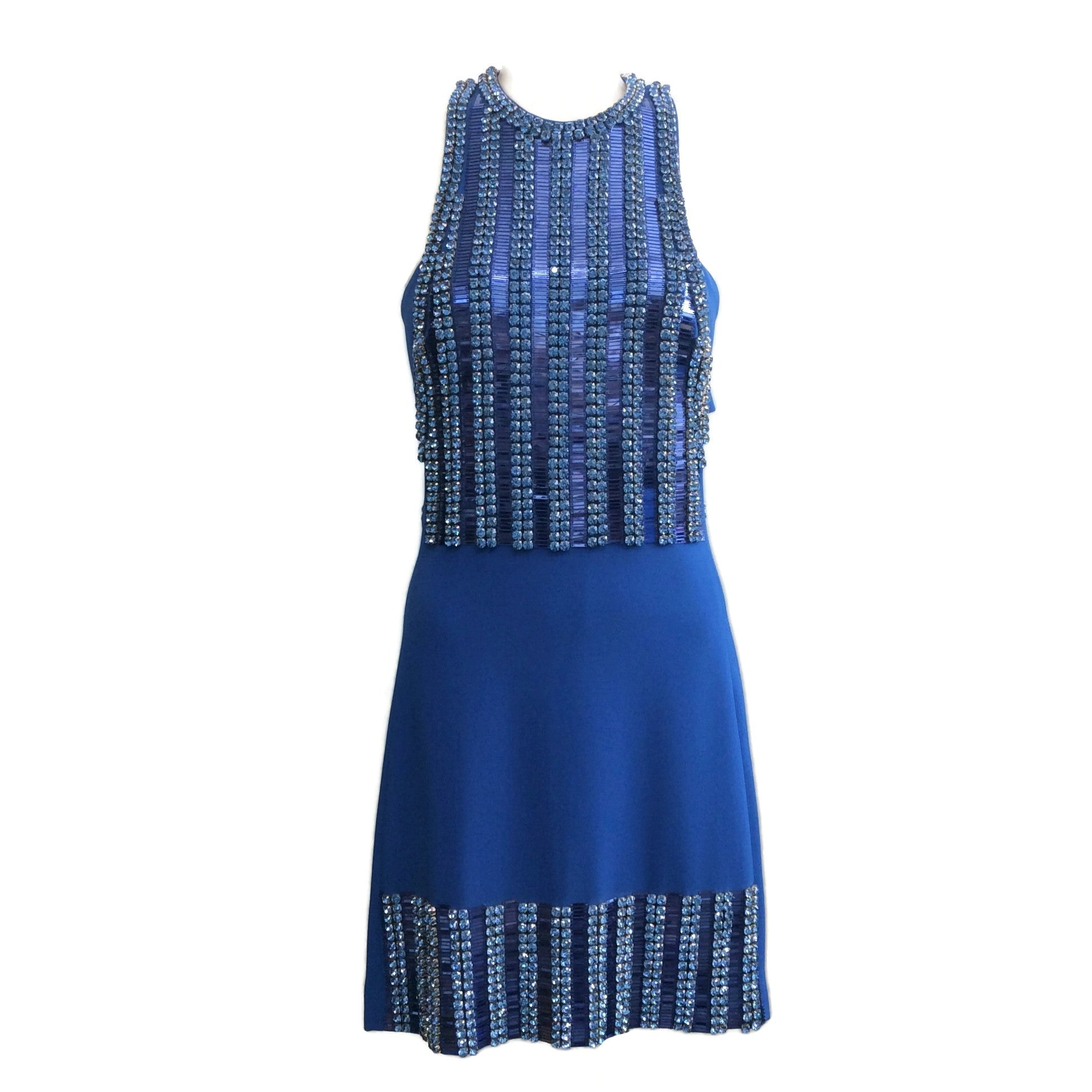 David Koma Blue Cady and Embellished Night Out Dress