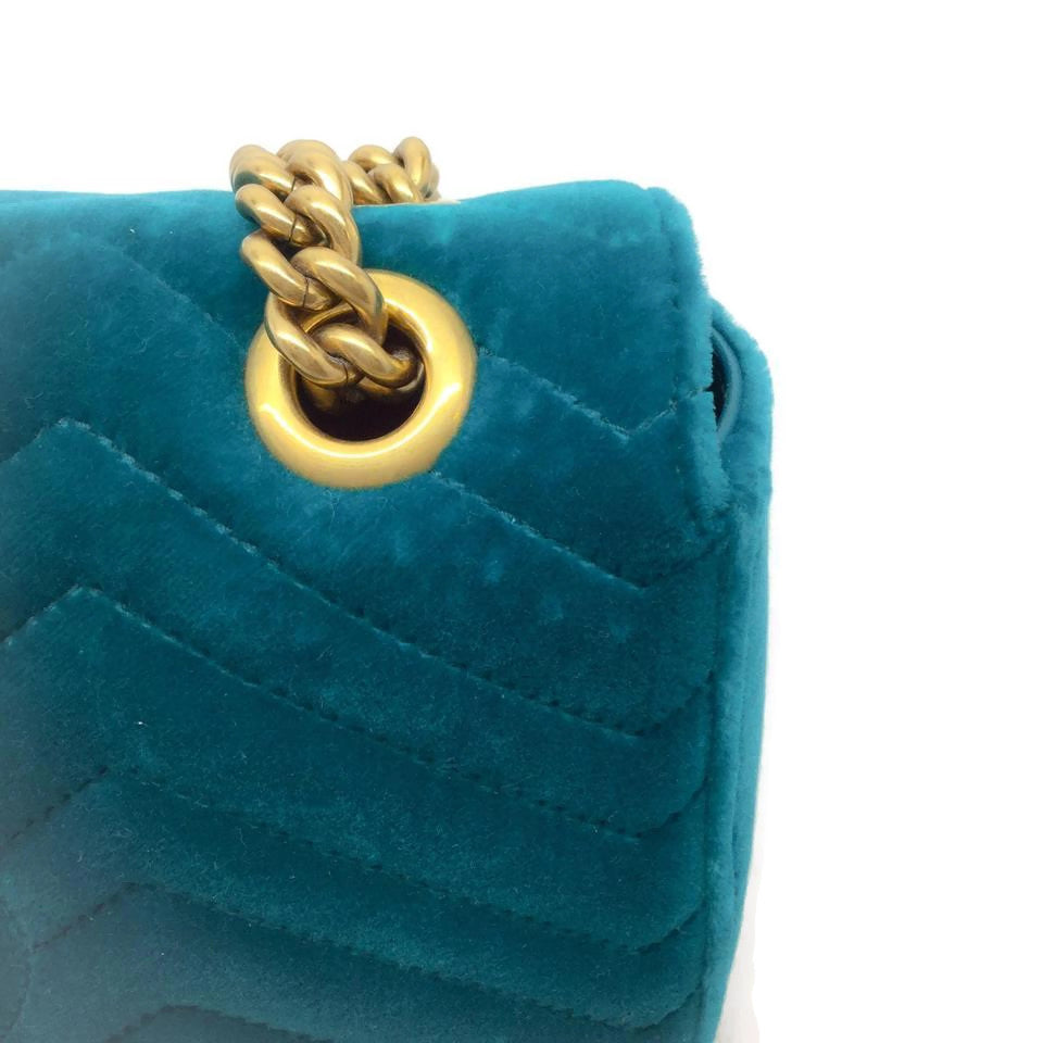 Gucci Blue Velvet GG Marmont Shoulder Bag