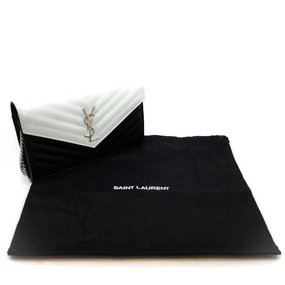 Saint Laurent Black / White Leather Wallet on Chain