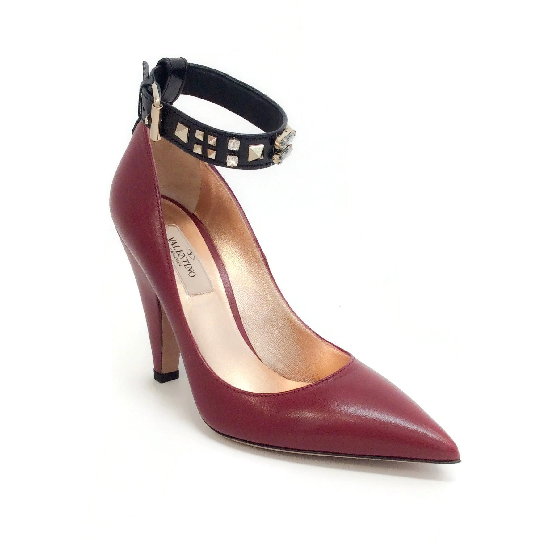 Valentino Red / Black Embellished Ankle Strap Pumps